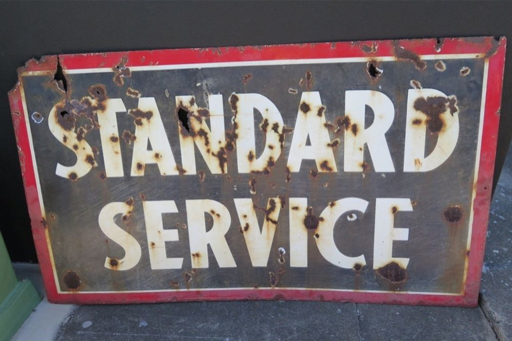 """c1930's USA GAS STATION """"STANDARD SERVICE"""" DOUBLE SIDED LARGE ENAMEL SIGN."""