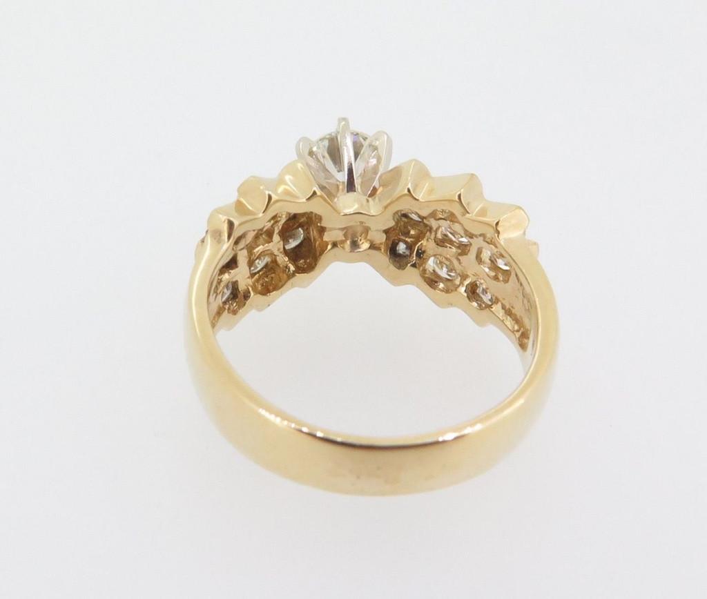 Vintage 14k yellow 0.76cttw H SI diamonds set dress ring Val $4600