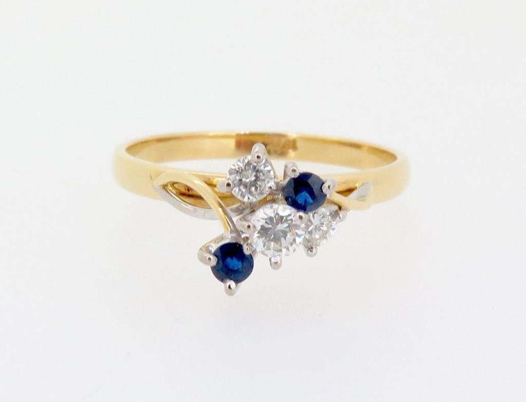 Handmade 18k Gold 0.29ct Diamond & Aust Sapphire ladies cocktail ring Val $2665
