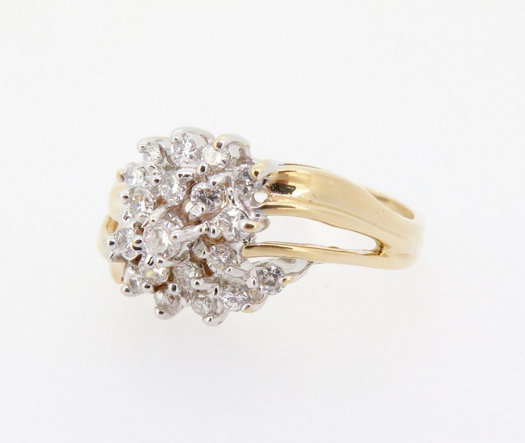 A 0.50ct Diamond Cluster 14k Yellow Gold Dress Ring Size P Val $2440