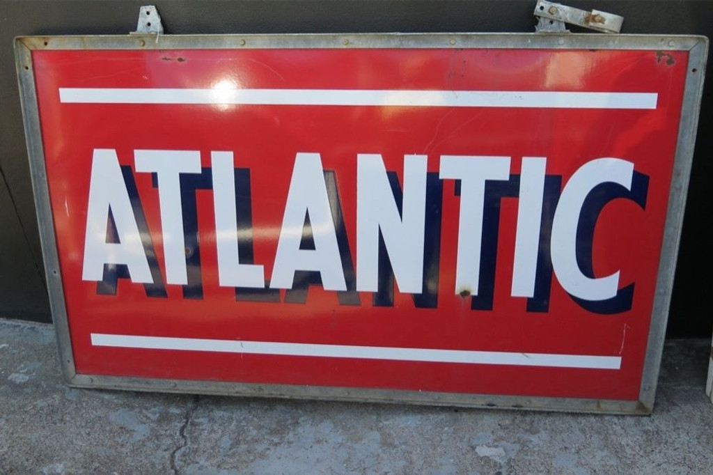 HUGE 6FT AMERICAN ATLANTIC PETROL / OIL / GAS STATION DOUBLE SIDED SIGN