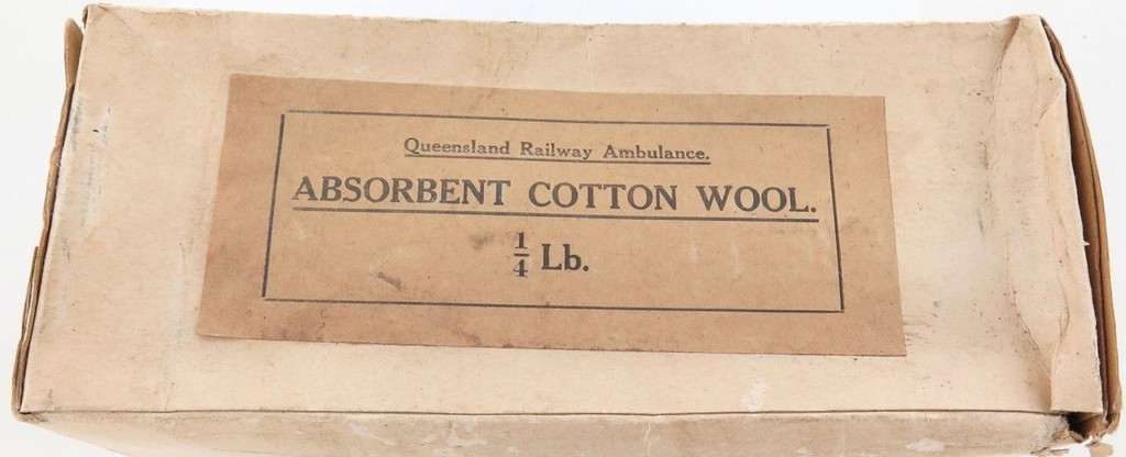 Rare early 1900s QLD Railway Ambulance absorbent cotton wool 1/4lb box & contents