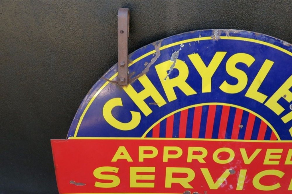 RARE c1940's LARGE AMERICAN CHRYSLER PLYMOUTH GARAGE ENAMEL DOUBLE SIDED SIGN