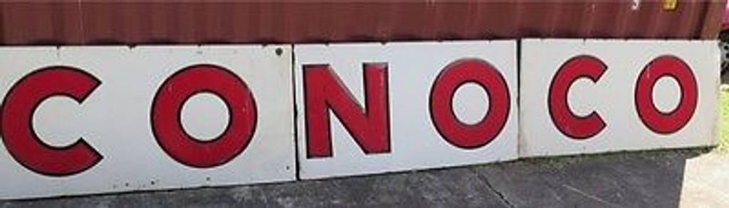 BRISBANE VINTAGE SIGN DEALER MASSIVE 16 FT RARE / VINTAGE AMERICAN CONOCO GAS STATION METAL EMBOSSED ENAMEL SIGN