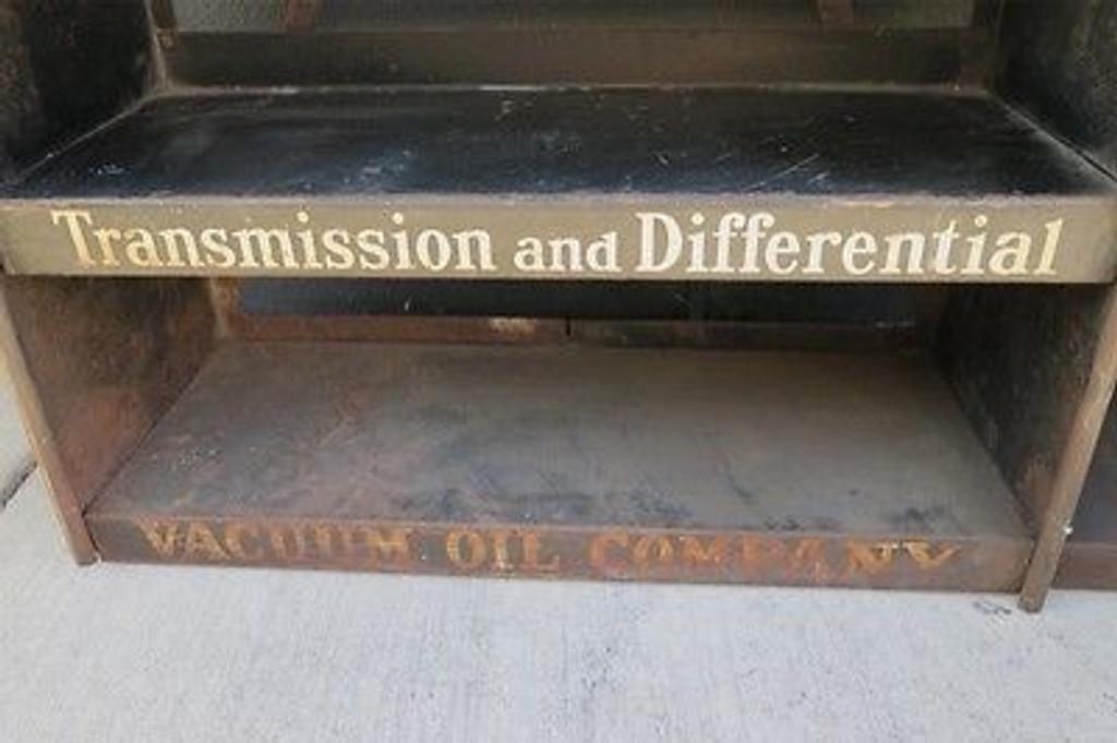 RARE c1930's GARGOYLE MOBIL OIL LARGE GARAGE / SHOP OIL DISPLAY STAND.