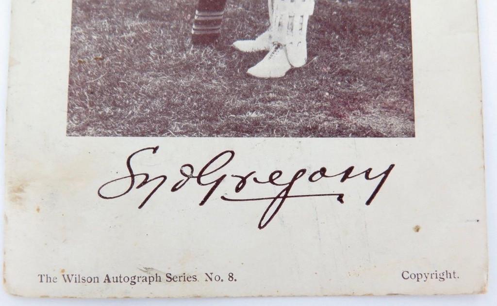 Rare 1907 cricket postcard of Syd Gregory. Wilson autograph series No 8