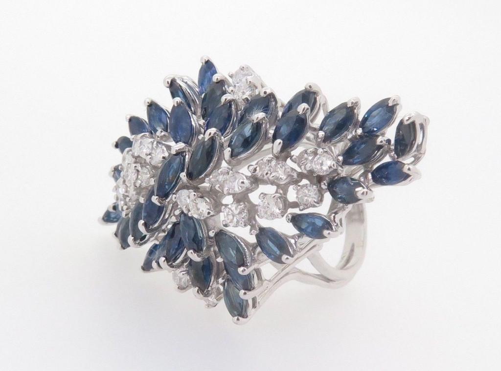 14k White Gold 1.20ct Diamond & Aust Sapphire Ladies Cluster Ring Val $9345