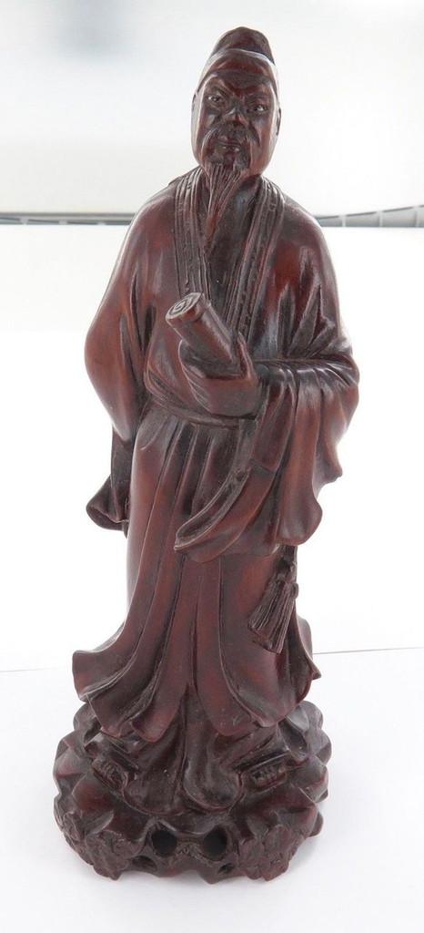 Stunning vintage signed Oriental cherrywood statue