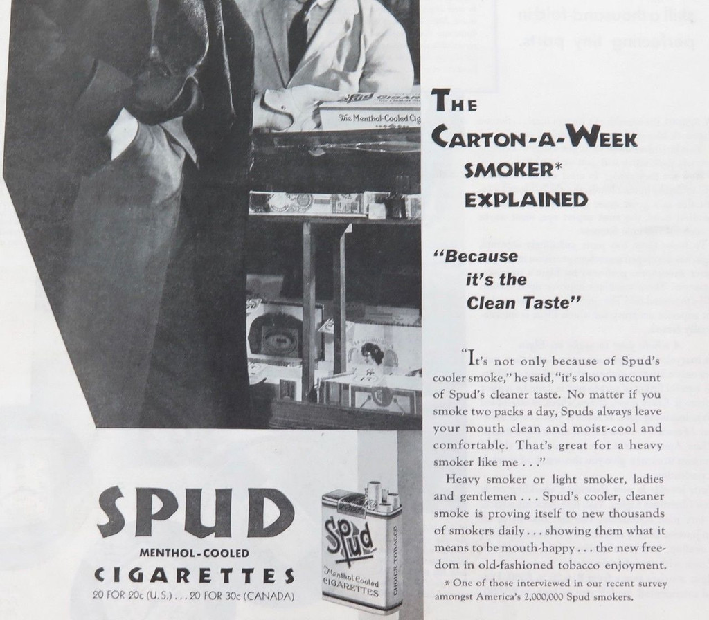 Rare 1931 Spud Cigarettes advert /  Elgin advert  ex Saturday evening post