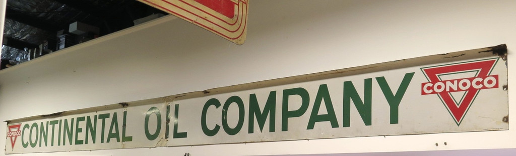 OLD SIGNS BOUGHT AND SOLD BRISBANE SUPER RARE HUGE 18FT VINTAGE CONOCO CONTINENTAL OIL COMPANY GAS STATION ENAMEL SIGN