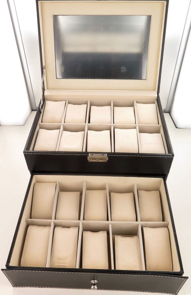 Superb quality 2 drawer 20 compartment skeleton top watch storage display box