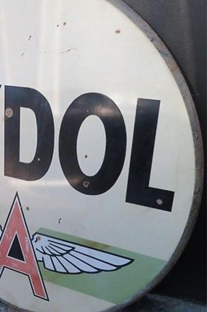 RARE 1940s to 50s 6FT HUGE VINTAGE USA TYDOL GASOLINE DOUBLE SIDED ENAMEL SIGN