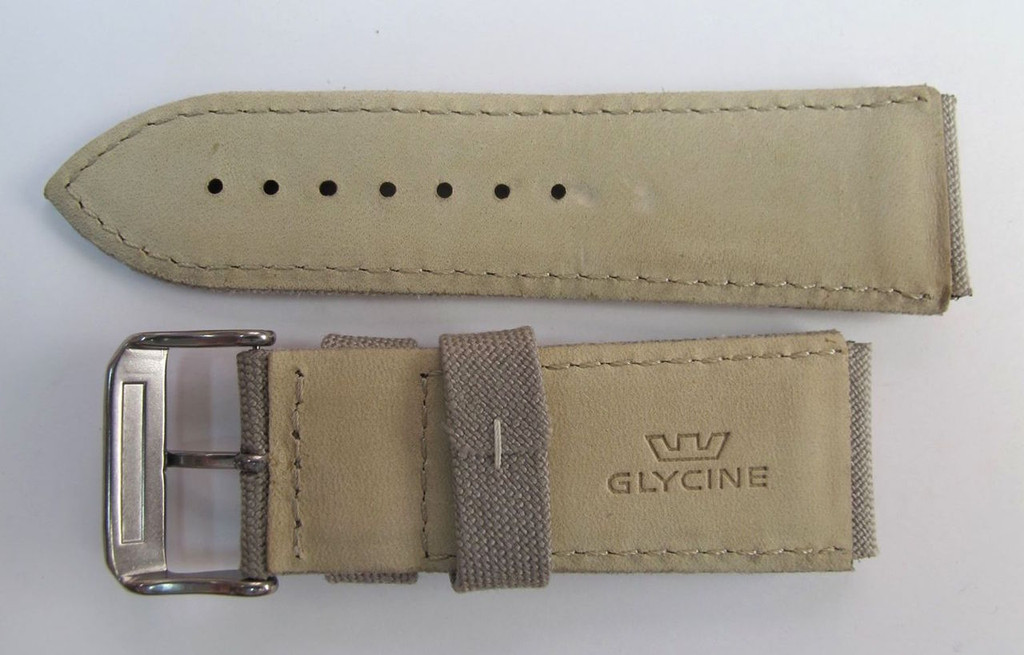 24MM HIGH GRADE DESERT CAMO CANVAS & LEATHER STRAP AND BUCKLE BY GLYCINE # B