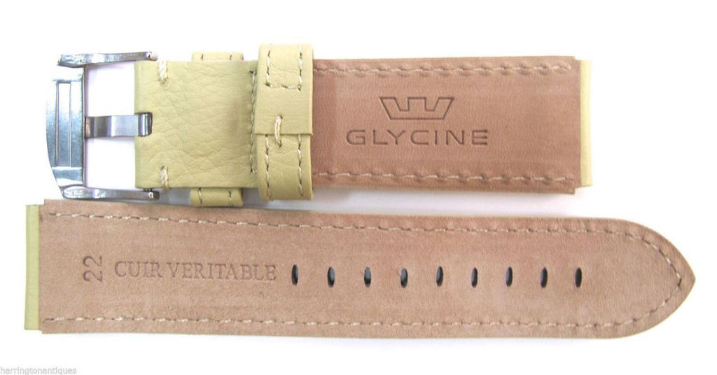22MM GERMAN MADE PALE LIME SOFT LEATHER STRAP & STEEL BUCKLE BY GLYCINE #T