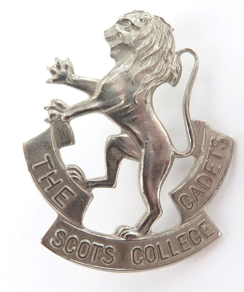 "2 VINTAGE ""THE SCOTS COLLEGE CADETS"" MILITARY CADET BADGES."