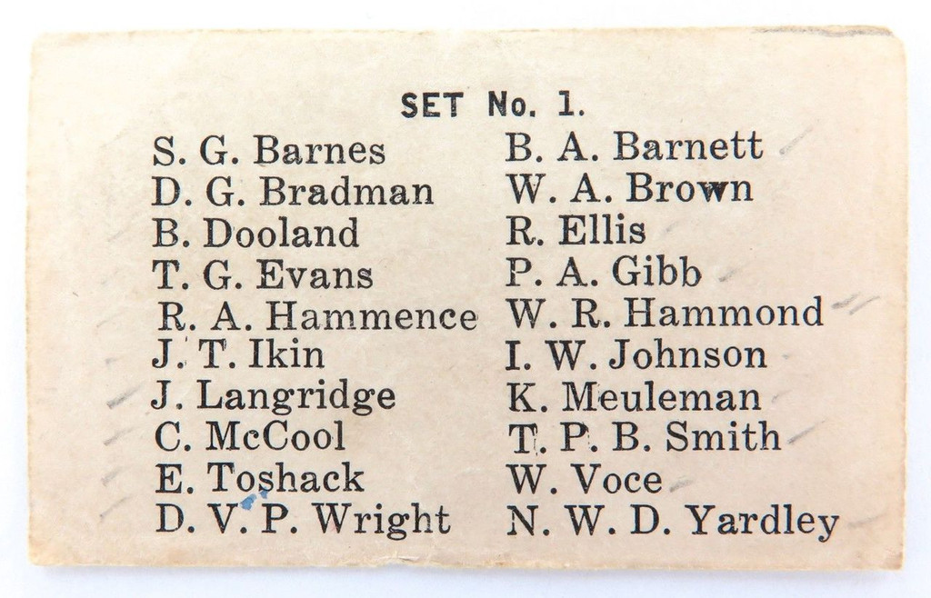 c1946 SUPER RARE BRADMAN COLLECTABLE. CHECK LIST #1 G J COLES CRICKETERS CARDS
