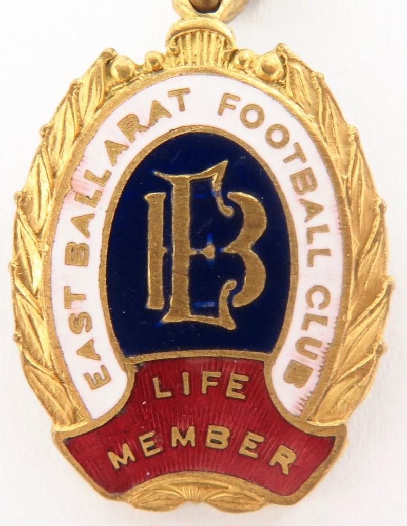 SUPER RARE / VINTAGE LIFE MEMBERS BADGE / FOB. EAST BALLARAT FOOTBALL CLUB.
