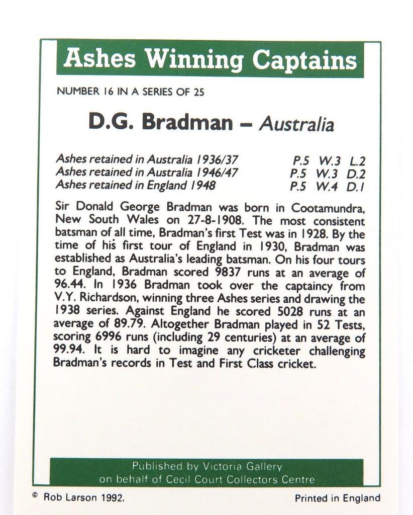 "c1992 DON BRADMAN TRADING CARD. ""ASHES WINNING CAPTAINS"""