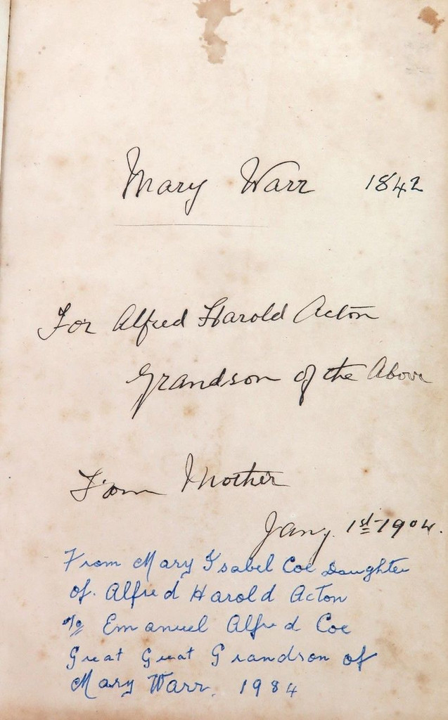 1844 IMPORTANT / EARLY BRISBANE PRAYER BOOK USED BY REV. WARR ST JOHNS CHAPEL.
