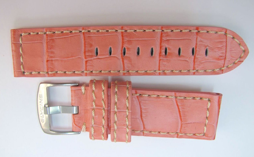 22MM LIGHT SALMON PINK LEATHER STRAP WITH LEATHER INNER & STEEL BUCKLE BY GLYCINE  BRISBANE Harrington Vintage Watch Strap Woolloongabba