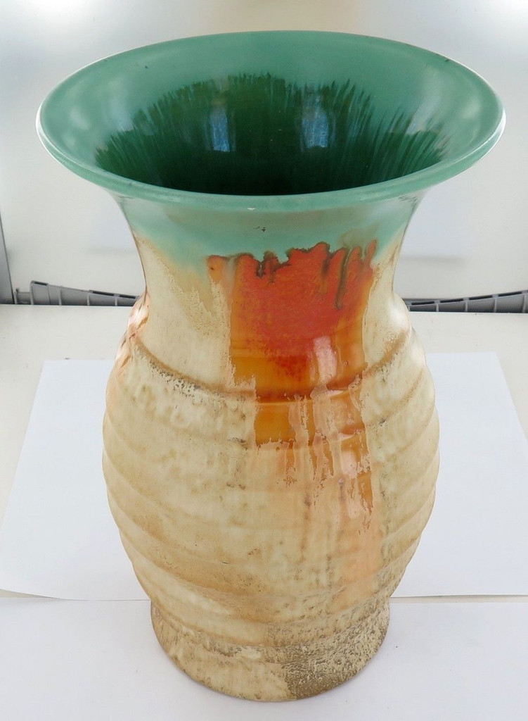 RARE / LARGE / 25CMS HIGH REMUED EARLY SERIES 319/10 DRIP GLAZE VASE / JUG.