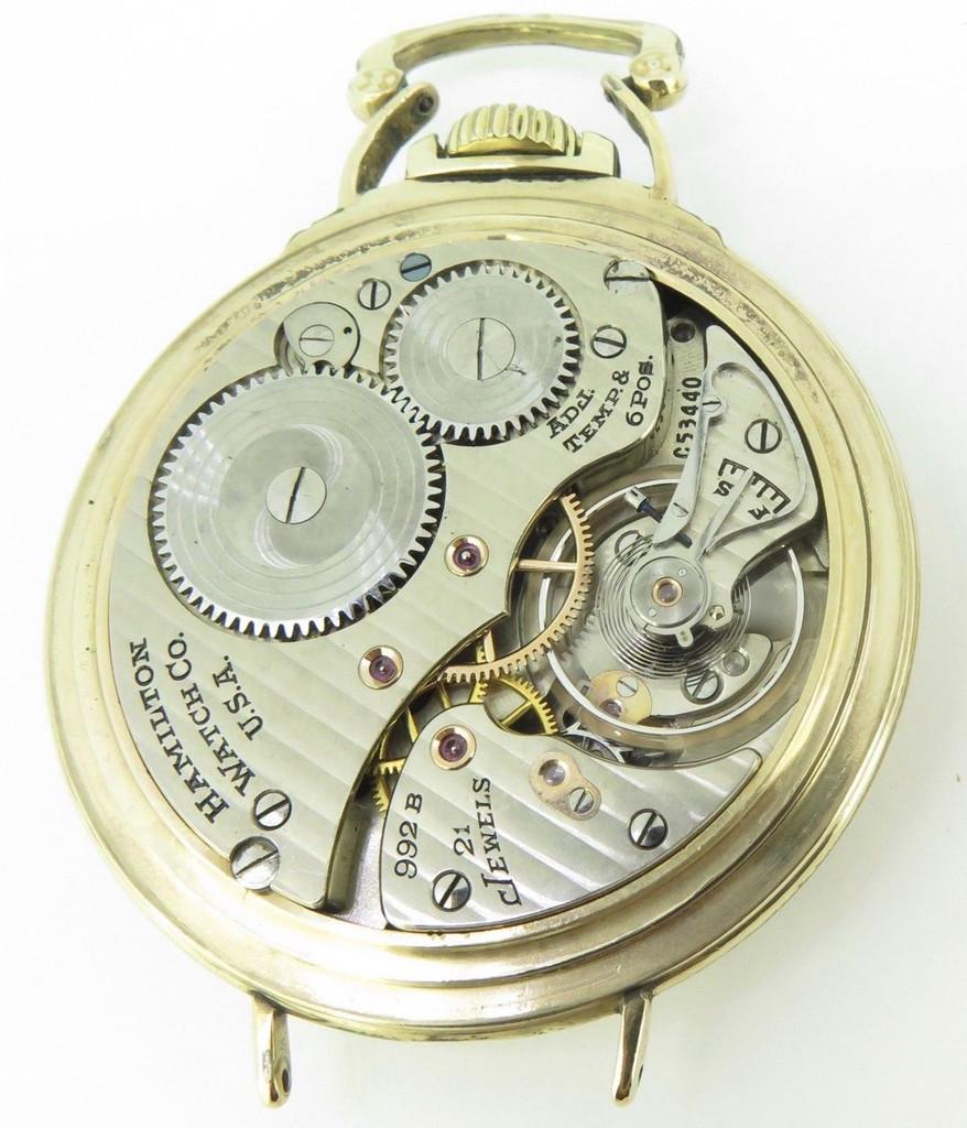 1942 Hamilton 992B 16s 21 Jewel Gold Filled Open Faced Pocket / Wrist Watch