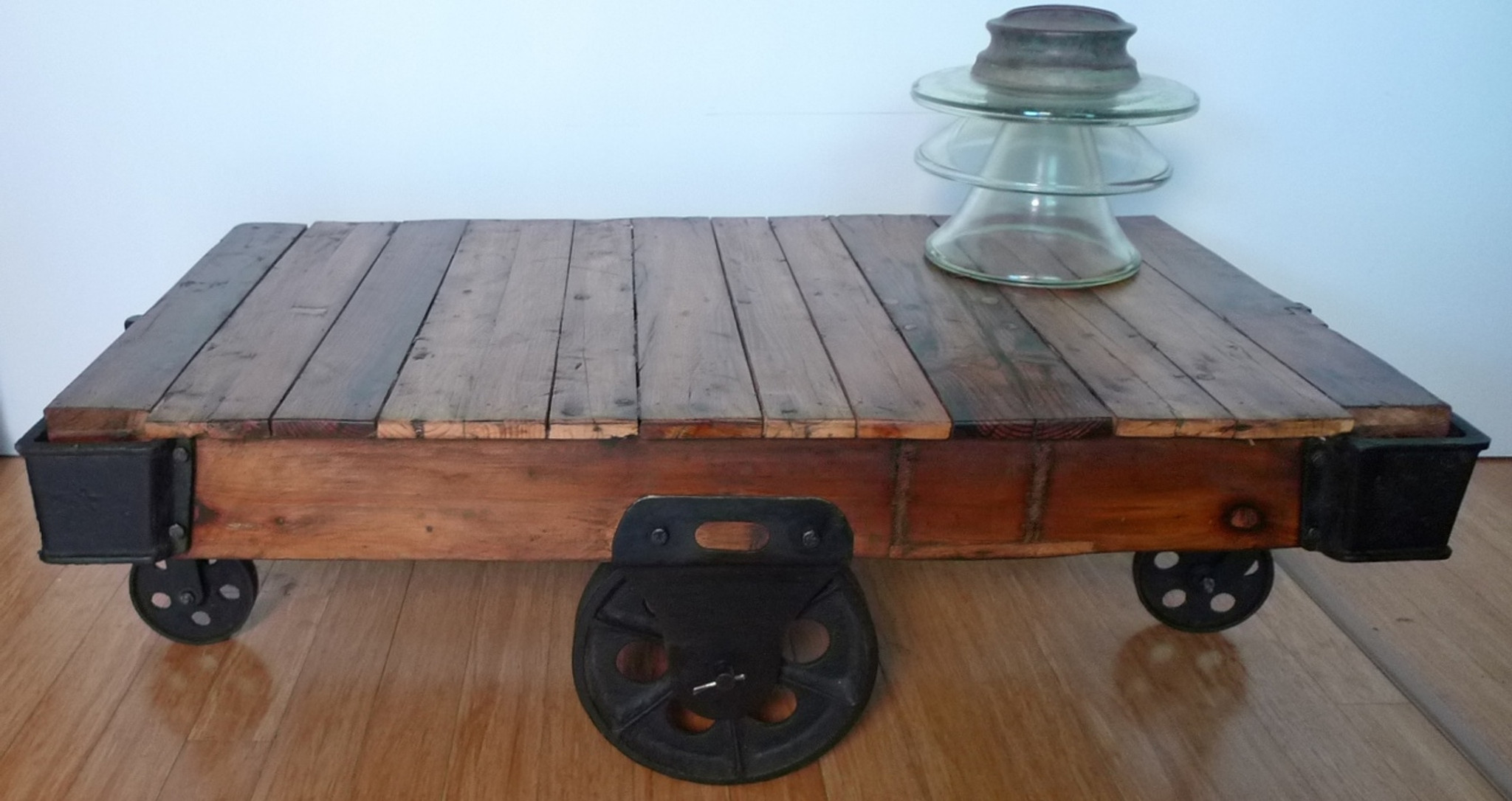 Fantastic Vintage Brisbane Style Cast Iron Timber Cart Perfect For A Coffee Table