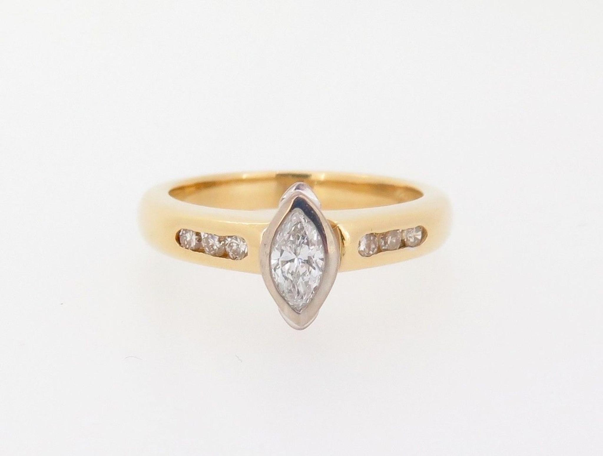 Vintage 0.32ct Diamond Set 18k Yellow Gold Ladies Ring Size H Val ...