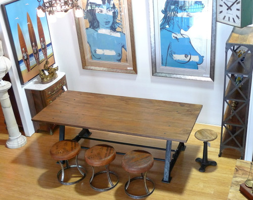 HARRINGTON & CO INDUSTRIAL CAST IRON BASE & SOLID TIMBER TOP TABLE / DESK - 230CM X 96CM X 76CM