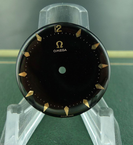 RARE 1950S OMEGA BLACK GLOSS DIAL WITH POINTED PINK GOLD BATTONS CAL.470 N.O.S