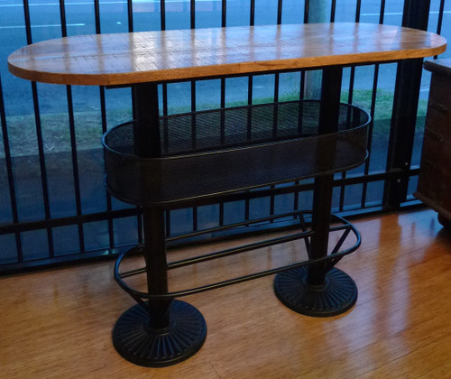 INDUSTRIAL STYLE CAST IRON & TIMBER CAFE BAR PERFECT FOR BALCONY / MANCAVE