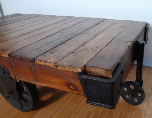 FANTASTIC INDUSTRIAL STYLE CAST IRON & TIMBER CART COFFEE TABLE