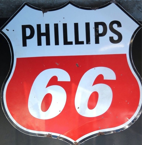 RARE VINTAGE HUGE 6FT AMERICAN PHILLIPS 66 GAS STATION DOUBLE SIDED METAL SIGN