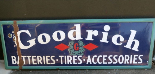 RARE USA GOODRICH BATTERIES TIRES LARGE 152CMS ADVERTISING ENAMEL SIGN