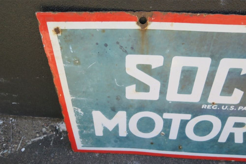 RARE c1920's USA SOCONY MOTOR OILS LARGE & HEAVY ENAMEL DOUBLE SIDED SIGN