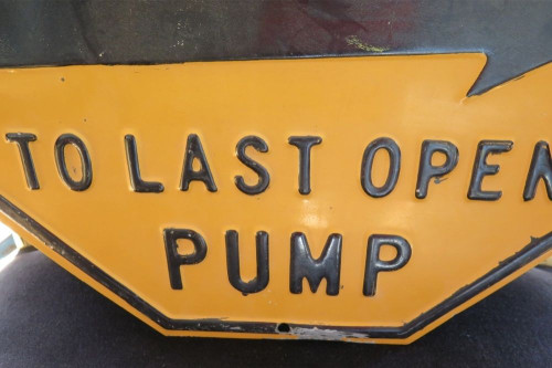 RARE VINTAGE AMERICAN GAS STATION EMBOSSED HEAVY SET METAL SIGN