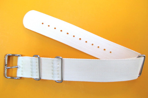 20MM HIGH GRADE NYLON NATO MILITARY STYLE WHITE STRAP & STEEL BUCKLE BY GLYCINE