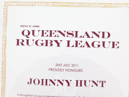 """VERY RARE QLD RUGBY LEAGUE REPRESENTATIVE AWARD & BADGE. J HUNT """"LEWIS OF 1924"""""""