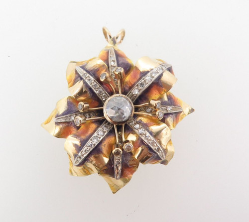 ANTIQUE 18ct GOLD ENAMEL AND OLD CUT 1.12ct DIAMOND FLOWER PENDANT VAL $10770