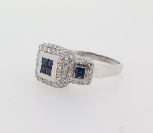 14K WHITE GOLD AUSTRALIAN SAPPHIRE & 2.00CT DIAMOND SET LADIES RING VAL $8995