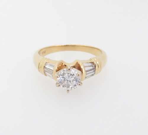 0.88ct Diamond G SI 14k Yellow Gold Solitare Dress Ring Val $6290
