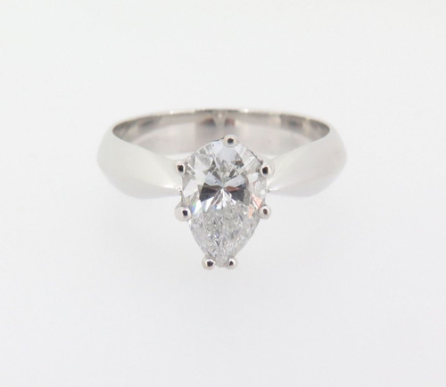 Impressive 18k White Gold 1.10ct Pear Cut Diamond F/G Solitare Ring Val $15255