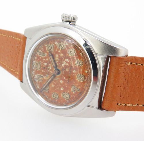 Rare 1945 Rolex Oyster radium burn dial, steel bubble back wristwatch 2940