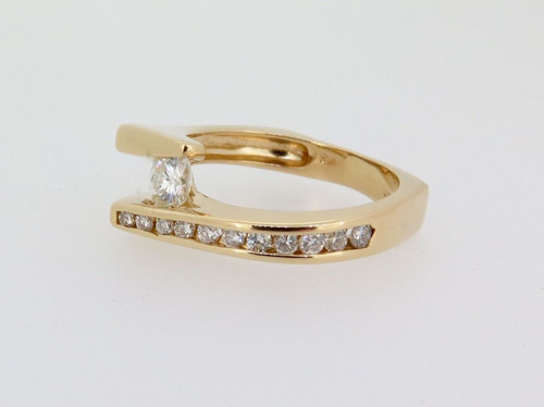 Vintage 9k yellow Gold Moissanite & Diamond Set Cocktail Ring Val $2465