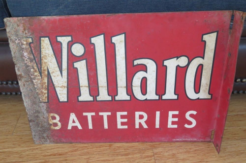 1950's AMERICAN WILLARD BATTERIES GAS STATION DOUBLE SIDED WALL SIGN