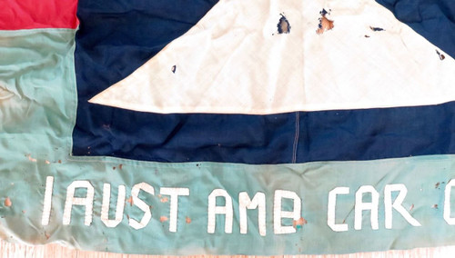 WW2 incredibly rare / museum quality 1st Aust Ambulance car coy large banner