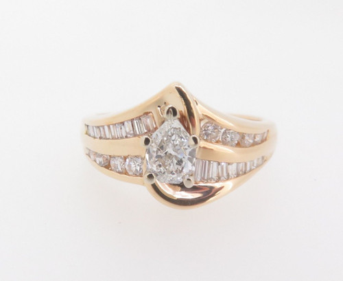 Kite Cut Diamond 1.00ct Channel Set 14k Gold Ring Val $5970