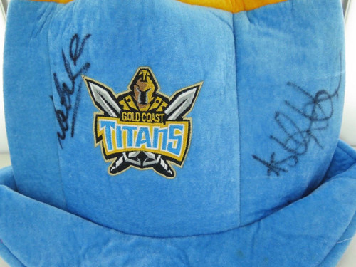 Gold Coast Titans signed large crazy supporters hat w/ 5 signatures