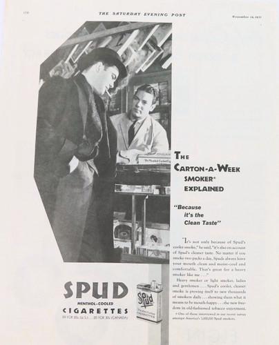 Rare 1931 Spud Cigarettes advert /  Elgin advert  ex Saturday evening post
