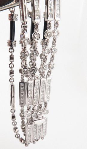 Incredible 18k White Gold 10.08ct Diamond & Onyx Multi Strand Bracelet Val$26945